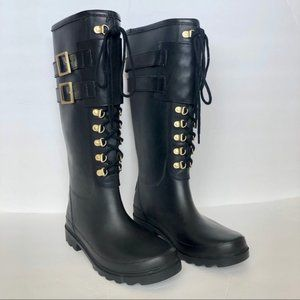 Tory Burch Black Lace-Up Rain Boots on Sale!!